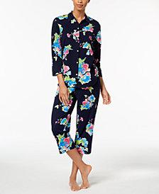 Lauren Ralph Lauren Catalina Icon Three-Quarter-Sleeve Cotton Pajama Set