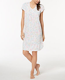 Miss Elaine Floral-Print Ruffle-Trim Nightgown
