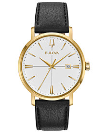 Bulova Men's Aero Jet Black Leather Strap Watch 39mm