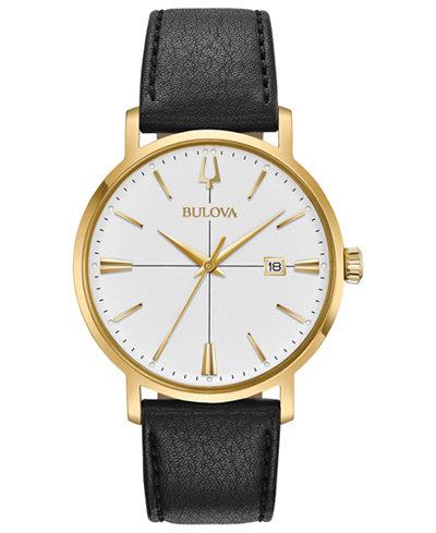 Bulova Men's Aero Jet Black Leather Strap Watch 39mm