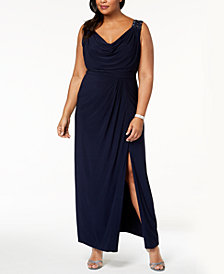 Alex Evenings Plus Size Draped & Embellished Gown
