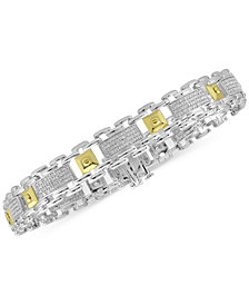 Men's Diamond Two-Tone Bracelet (1/2 ct. t.w.) in Sterling Silver & 10k Gold-Plate