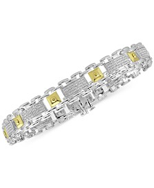 Men's Diamond Two-Tone Bracelet (1/2 ct. t.w.) in Sterling Silver & 18k Gold-Plate