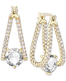 Cubic Zirconia Small Captured Hoop Earrings in Sterling Silver
