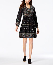 Style & Co Petite Printed Bubble-Sleeve Peasant Dress, Created for Macy's