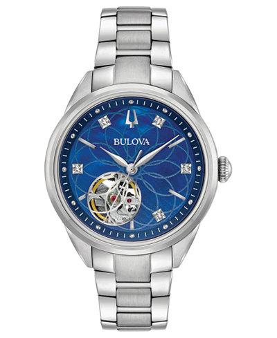 Bulova Women's Automatic Dress Diamond-Accent Stainless Steel Bracelet Watch 34mm