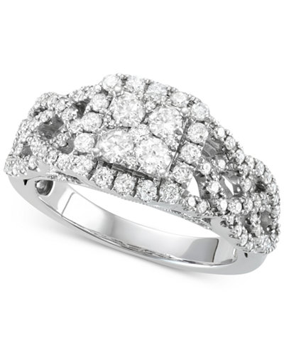Diamond Square Cluster Braided Ring (1-1/6 ct. t.w.) in 14k White Gold