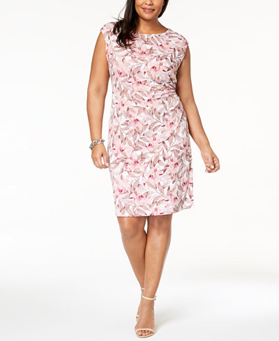 Connected Plus Size Ruched Sheath Dress