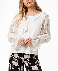 kensie Ruffled Lace-Sleeve Sweater