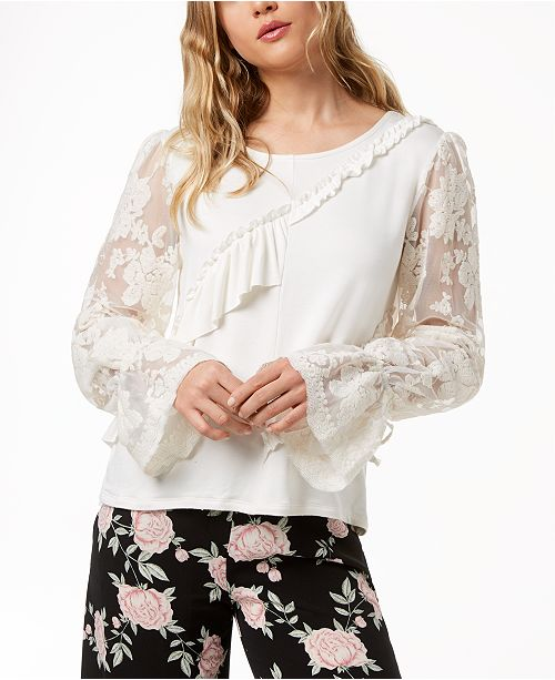 Canvas Ruffled Sleeve kensie Sweater Lace TFn0fZa