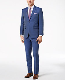 Perry Ellis Men's Slim-Fit Stretch Blue Linen Suit