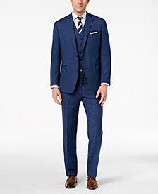 Michael Kors Men's Big & Tall Classic-Fit Blue Birdseye Vested Suit