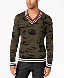 American Rag Men's Camo V-Neck Varsity Sweater, Created for Macy's