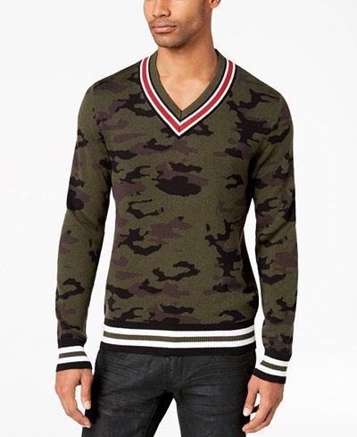 American Rag Men's Camo V-Neck Varsity Sweater, Created for Macy's
