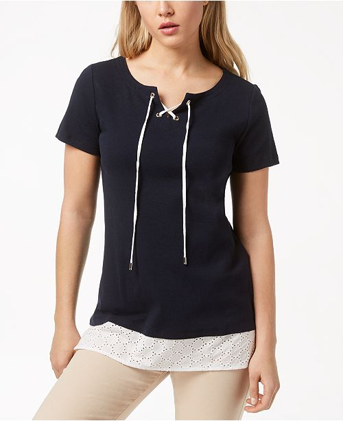 Tommy Hilfiger Cotton Grommet-Lace-Up Top, Created for Macy's