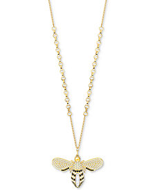 "Swarovski Gold-Tone Crystal Bee 33-1/2"" Pendant Necklace"