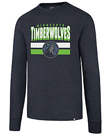 '47 Brand Men's Minnesota Timberwolves Stacked Imprint Long Sleeve T-Shirt