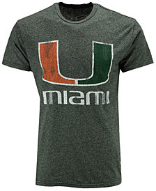 Retro Brand Men's Miami Hurricanes Retro Mock Twist Team Logo T-Shirt