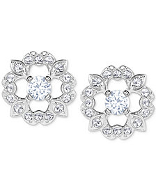Swarovski Silver Tone Crystal Flower Stud Earrings