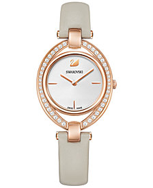 Swarovski Women's Swiss Stella Leather Strap Watch 29x35mm