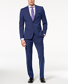 Nick Graham Men's Slim-Fit Stretch Blue/Red Windowpane Suit