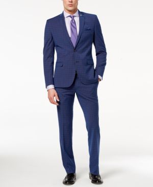 Nick Graham Men's Slim-Fit Stretch Blue/Red Windowpane Suit thumbnail