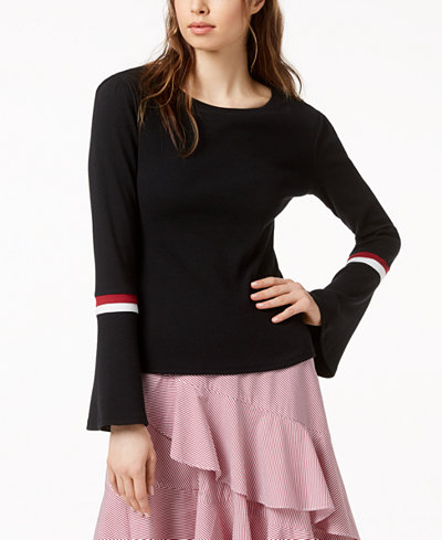 Bar III Striped-Trim Bell-Sleeve Top, Created for Macy's
