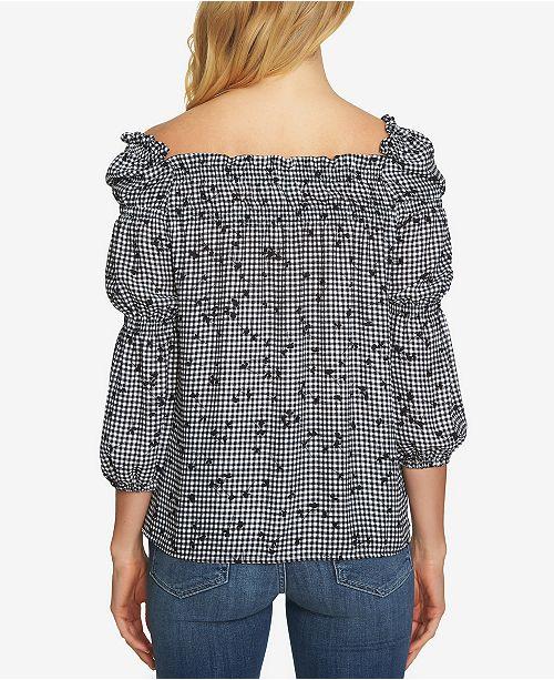29f44dda3585e4 CeCe Cotton Printed Square-Neck Blouson Top   Reviews - Tops - Women ...