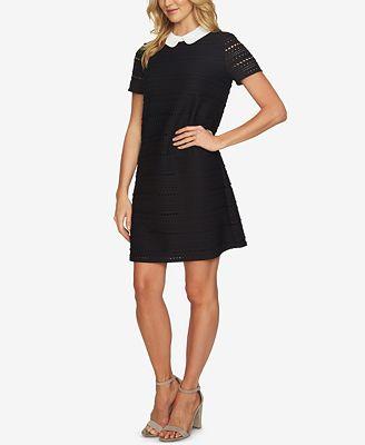 CeCe Eyelet Round-Collar A-Line Dress