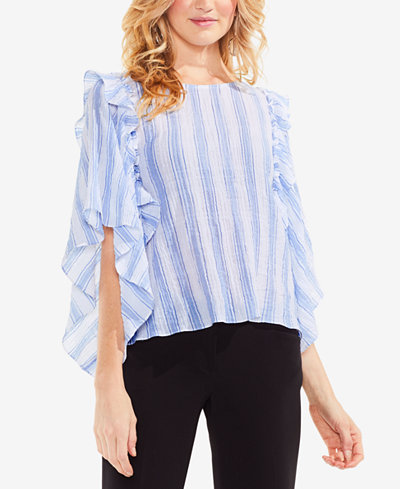 Vince Camuto Stripe Puckered Ruffle Top