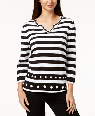 Alfred Dunner Petite Upper East Side Striped Sweater