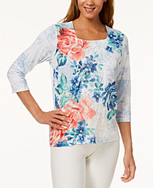 Alfred Dunner Petite Sun City Lace-Panel Embellished Top