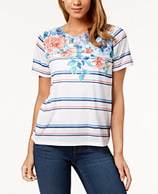 Alfred Dunner Petite Sun City Floral-Stripe Top