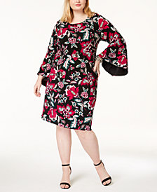 I.N.C. Plus Size Printed Bell-Sleeve Dress, Created for Macy's
