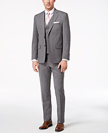 Lauren Ralph Lauren Men's Classic-Fit Ultra-Flex Stretch Light Gray Glen Plaid Vested Suit