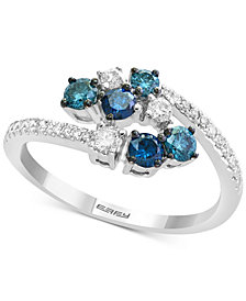 EFFY® Shades of Bleu  Diamond Cluster Bypass Ring (3/4 ct. t.w.) in 14k White Gold