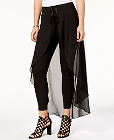 Material Girl Juniors' Solid Corset Overlay Pants, Created for Macy's