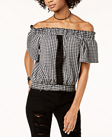 The Edit By Seventeen Juniors' Off-The-Shoulder Gingham Top, Created for Macy's