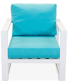 CLOSEOUT! Aruba Blue Aluminum Outdoor Club Chair with Sunbrella® Cushion, Created for Macy's