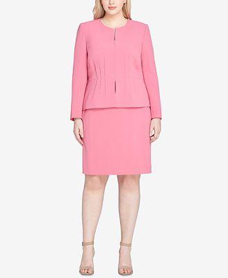 Tahari Asl Plus Size Collarless Peplum Waist Skirt Suit Wear To