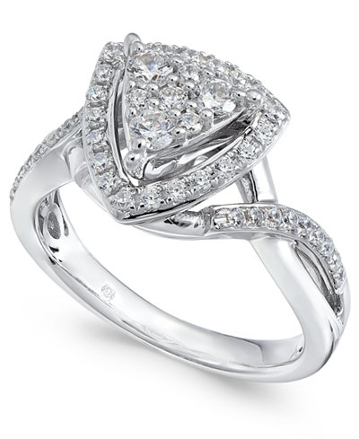 Diamond Geometric Cluster Halo Ring (1/2 ct. t.w.) in 14k White Gold