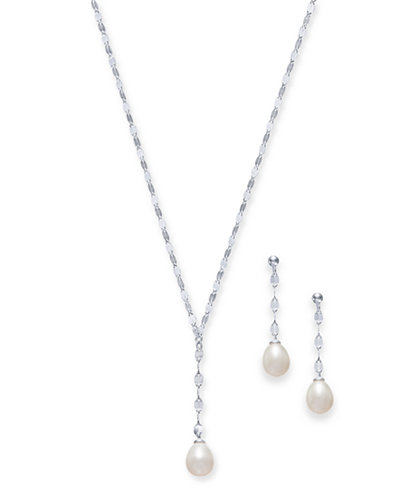2-Pc. Set Cultured Freshwater Pearl (7 x 9mm) Lariat Necklace & Drop Earrings in Sterling Silver