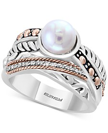 Balissima by EFFY® Cultured Freshwater Pearl (8mm) & Diamond Accent Ring in Sterling Silver & 18k Rose Gold