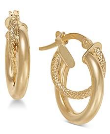 Double Hoop Earrings in 14k Gold