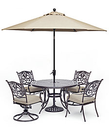 "Chateau Outdoor Aluminum 5-Pc. Set (48"" Round Dining Table, 2 Dining Chairs &  2 Swivel Rockers) with Sunbrella® Cushions, Created For Macy's"