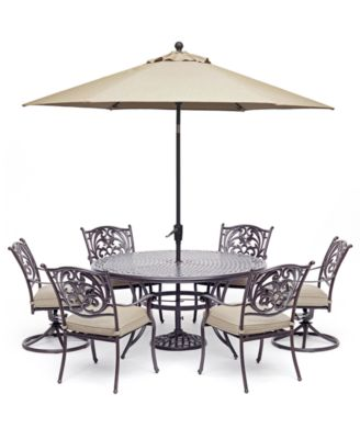 "Chateau Outdoor Aluminum 7-Pc. Set (60"" Round Dining Table, 4 Dining Chairs &  2 Swivel Rockers) with Sunbrella® Cushions, Created For Macy's"