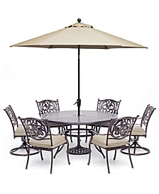 """Chateau Outdoor Aluminum 7-Pc. Set (60"""" Round Dining Table, 4 Dining Chairs &  2 Swivel Rockers) with Sunbrella® Cushions, Created For Macy's"""