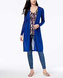 Thalia Sodi Duster Cardigan, Ruffled Top & Embellished Jeans, Created for Macy's