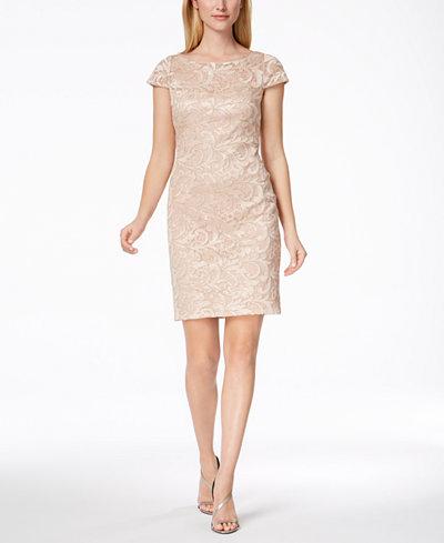 Calvin Klein Sequined Lace Sheath Dress