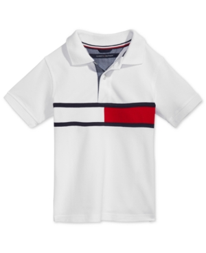Tommy Hilfiger\'s red, white and blue logo stripe adds vibrant style to this comfortable short-sleeve polo shirt.